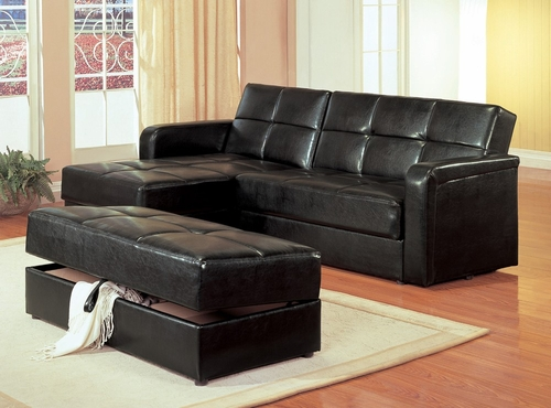 Chaise Storage Sofa with Storage Ottoman in Black Vinyl - Coaster - 300166-67-SET