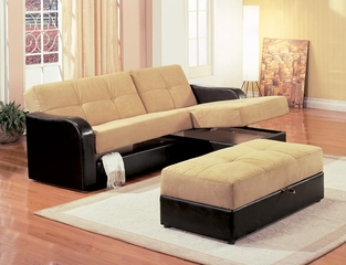 Chaise Storage Sofa with Storage Ottoman in Brown Vinyl / Tan Microfiber - Coaster - 300168-69-SET