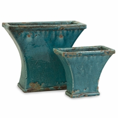 Challis Teal Distressed Planters (Set of 2) - IMAX - 40141-2