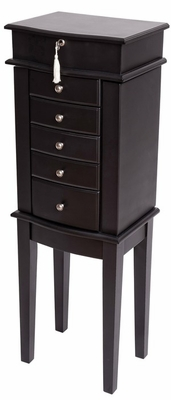 Chandler Wooden Jewelry Armoire in Java - Mele