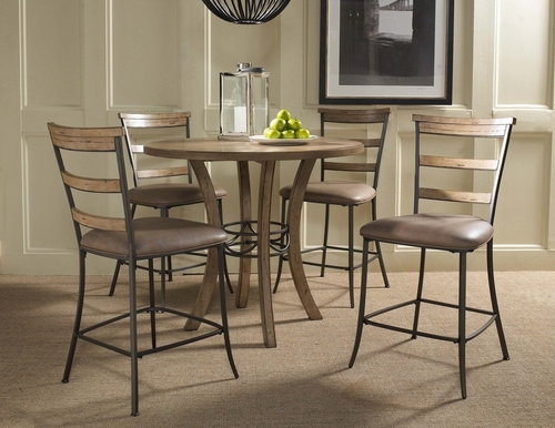 Charleston 5-Piece Counter Height Round Wood Dining Set with Ladder Back Stools - Hillsdale Furniture - 4670CTBWS5