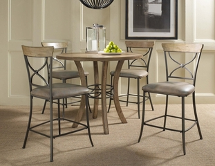 Charleston 5-Piece Counter Height Round Wood Dining Set with X Back Stools - Hillsdale Furniture - 4670CTBWS2