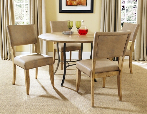 Charleston 5-Piece Round Wood and Metal Dining Set with Parson Chairs - Hillsdale Furniture - 4670DTBC4