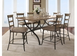 Charleston 7-Piece Counter Height Rectangle Wood Dining Set with Ladder Back Stools - Hillsdale Furniture - 4670CTBRS57