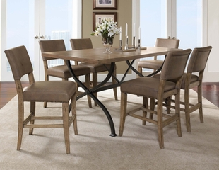 Charleston 7-Piece Counter Height Rectangle Wood Dining Set with Parson Stools - Hillsdale Furniture - 4670CTBRS47