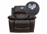 Charleston Southern University Buccaneers Leather Rocker Recliner - MEN-DA3439-91-BRN-45006-EMB-GG