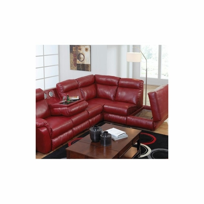 Chastain Leather Entertainment Sectional in Red - Catnapper