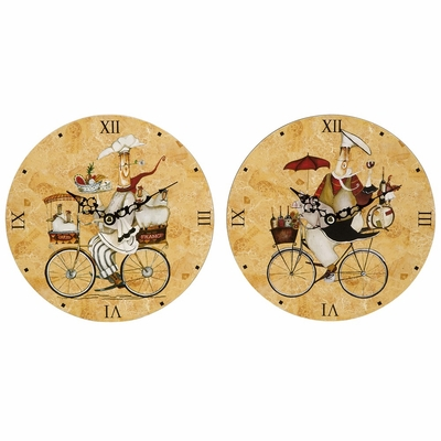 Chef On Bike Clocks (Set of 2) - IMAX - 37032-2