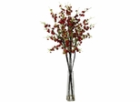 Cherry Blossoms with Vase Silk Flower Arrangement - Nearly Natural - 1193-RD