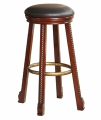 """Cherry"" Round Bar Stool with Black Faux Leather Seat (Set of 2) - Powell Furniture - 665-432-SET"