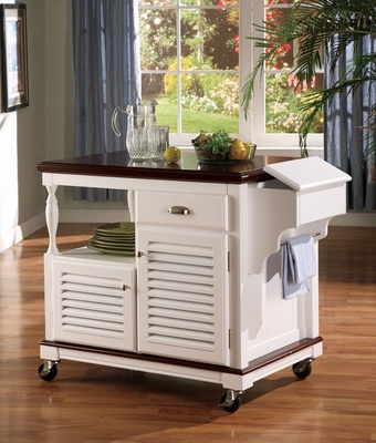 Cherry Topped Kitchen Cart with 2 Doors - 910013