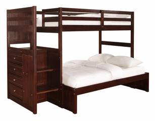 "Chest End Step Twin/Full Bunk Bed - Ranch ""Cappuccino"" - Powell Furniture - 396-BBED-3"