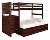 "Chest End Step Twin/Full Bunk Bed with Underbed Dual Drawer Unit - Ranch ""Cappuccino"" - Powell Furniture - 396-BBED-4"