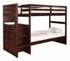 "Chest End Step Twin/Twin Bunk Bed - Ranch ""Cappuccino"" - Powell Furniture - 396-037"