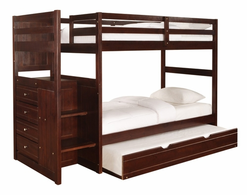 Chest End Step Twin/Twin Bunk Bed with Trundle - Ranch