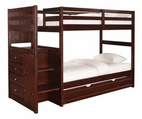 "Chest End Step Twin/Twin Bunk Bed with Trundle - Ranch ""Cappuccino"" - Powell Furniture - 396-BBED-2"