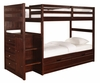 "Chest End Step Twin/Twin Bunk Bed with Underbed Dual Drawer Unit - Ranch ""Cappuccino"" - Powell Furniture - 396-BBED-1"