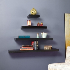 "SEI Chicago Floating Shelf 10"" Black"