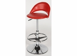 Chintaly Adjustable Swivel Bar Stool in Red and Chrome (Set of 2) - Chintaly Furniture - 6126-AS-RED