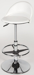 Chintaly Adjustable Swivel Bar Stool in White and Chrome (Set of 2) - Chintaly Furniture - 6126-AS-WHT