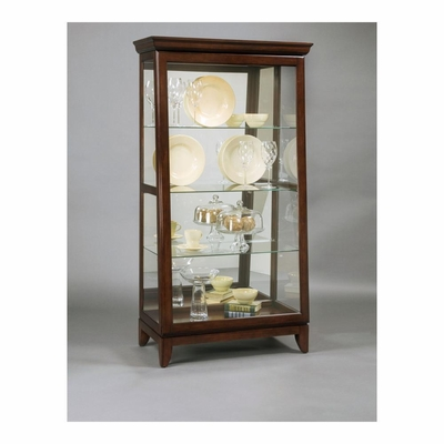 Chocolate Cherry  Sliding Door Curio - Pulaski