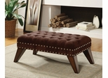 Chocolate Finish Upholstered Bench with Wooden Legs - Jovita - 10076