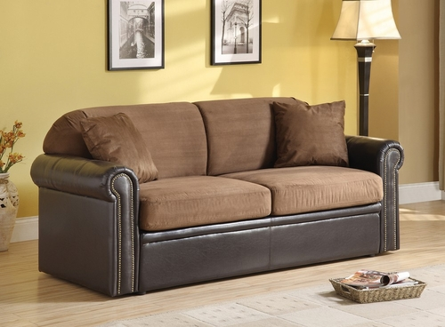 Chocolate Microfiber Sofa with Queen Sleeper - Cobri - 15278