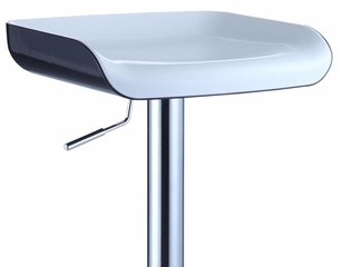 Chrome Bar Stool with Black Bottom, White Top Seat (Set of 2) - Powell Furniture - 212-729-SET
