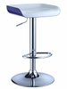 Chrome Bar Stool with Dark Blue Bottom, White Top Seat (Set of 2) - Powell Furniture - 209-729-SET