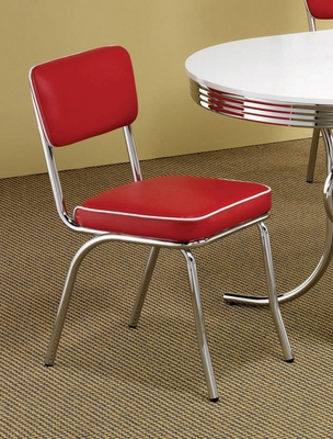 Chrome Chair with Red Cushion (Set of 2) in Chrome / Red - Coaster