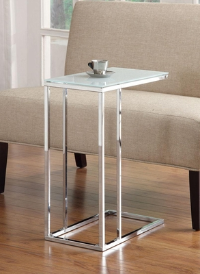 Chrome Snack Table with Frosted Tempered Glass Top - 900250