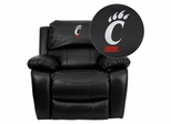 Cincinnati Bearcats Black Leather Rocker Recliner - MEN-DA3439-91-BK-40031-EMB-GG