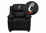 Cincinnati Bearcats Embroidered Black Leather Kids Recliner - BT-7985-KID-BK-LEA-40031-EMB-GG