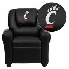Cincinnati Bearcats Embroidered Black Vinyl Kids Recliner - DG-ULT-KID-BK-40031-EMB-GG