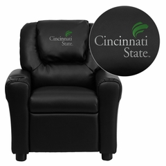 Cincinnati State Technical & Community College Surge Black Vinyl Kids Recliner - DG-ULT-KID-BK-41017-EMB-GG