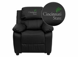 Cincinnati State Technical & Community College Surge Leather Kids Recliner - BT-7985-KID-BK-LEA-41017-EMB-GG