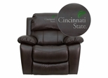 Cincinnati State Technical & Community College Surge Leather Rocker Recliner - MEN-DA3439-91-BRN-41017-EMB-GG