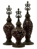 Cinnabar Ceramic and Metal Finials (Set of 3) - IMAX - 94037-3