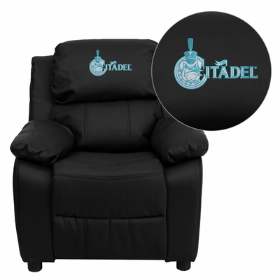 Citadel Bulldogs Embroidered Black Leather Kids Recliner - BT-7985-KID-BK-LEA-40001-EMB-GG