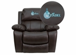Citadel Bulldogs Leather Rocker Recliner - MEN-DA3439-91-BRN-40001-EMB-GG