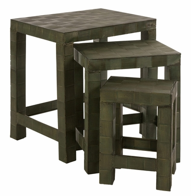 CK Basketweave Verdigris Tables (Set of 3) - IMAX - 12881-3