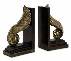 CK Mukkara Leaf Bookends (Set of 2) - IMAX - 1482-2