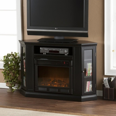 Claremont Convertible Media Black Electric Fireplace - Holly and Martin