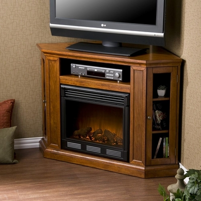 Claremont Convertible Media Mahogany Electric Fireplace - Holly and Martin