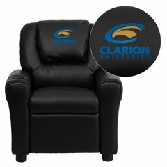 Clarion University of Pennsylvania Golden Eagles Kids Recliner - DG-ULT-KID-BK-41018-EMB-GG