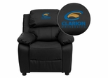 Clarion University of Pennsylvania Golden Eagles Leather Kids Recliner - BT-7985-KID-BK-LEA-41018-EMB-GG