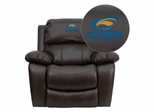 Clarion University of Pennsylvania Golden Eagles Leather Rocker Recliner  - MEN-DA3439-91-BRN-41018-EMB-GG