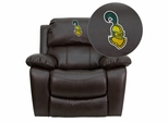Clarkson University Golden Knights Leather Rocker Recliner  - MEN-DA3439-91-BRN-41019-EMB-GG
