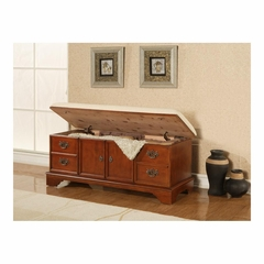 Classic Cherry Cedar Chest with Upholstered Seat - Powell