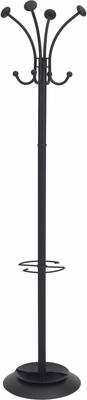 Classical ALBA Black Floor Coat Stand with 4 Double Pegs